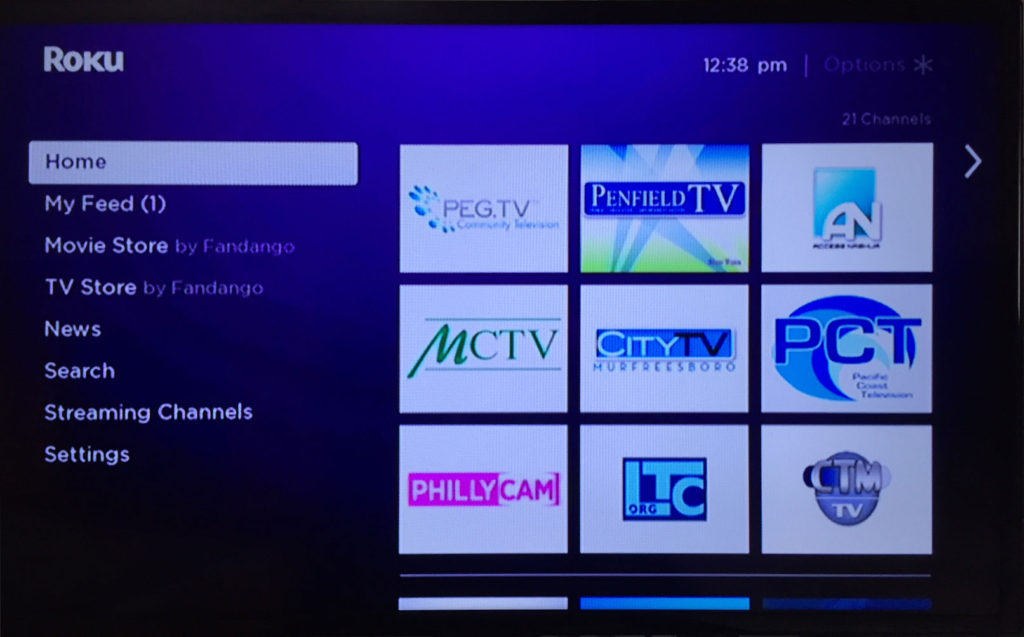Some PEG stations on Roku