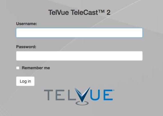 Login & Web UI - TelVue