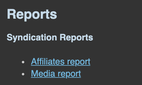 Connect Syndication Reports