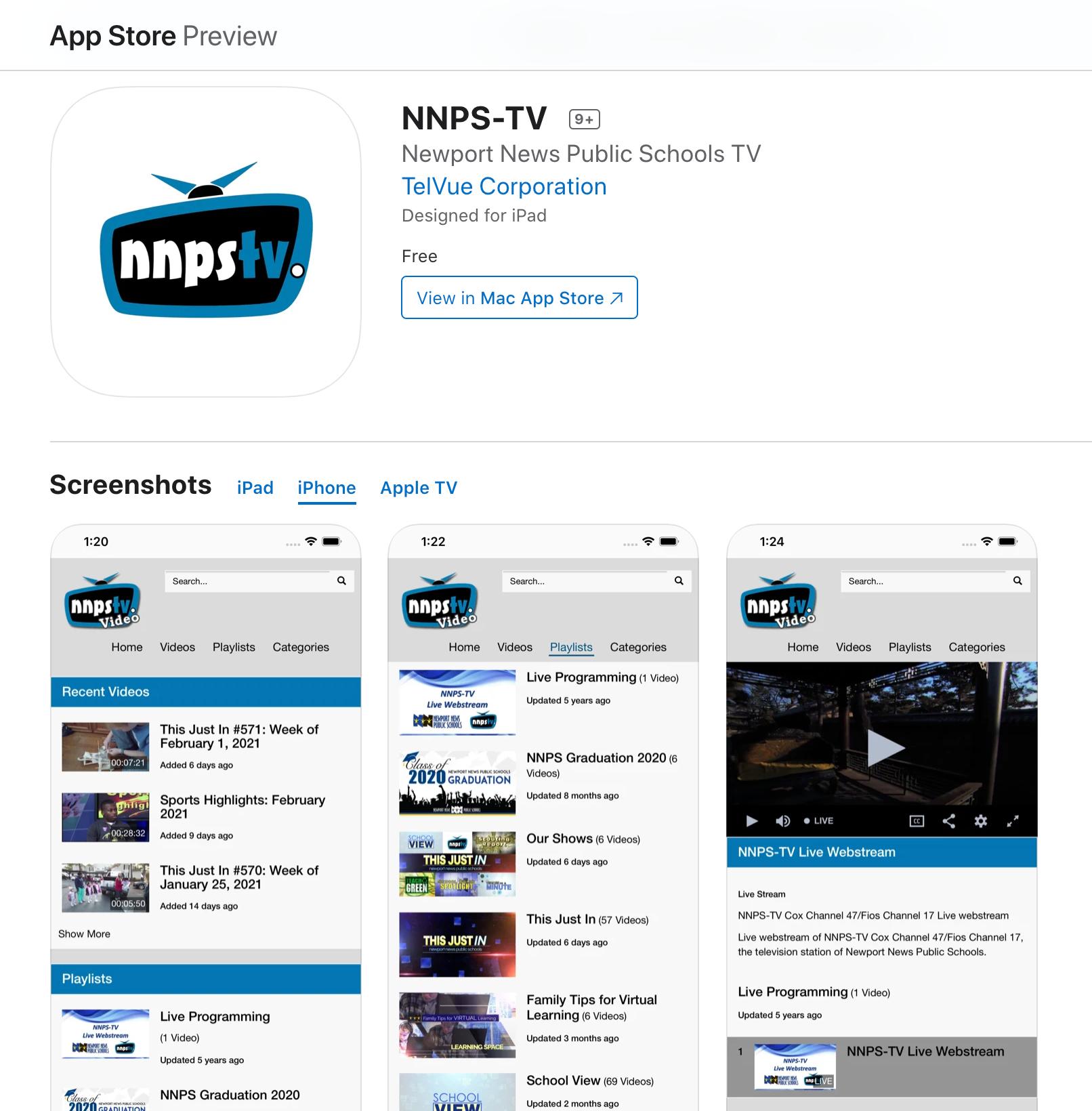 NNPS-TV App Store
