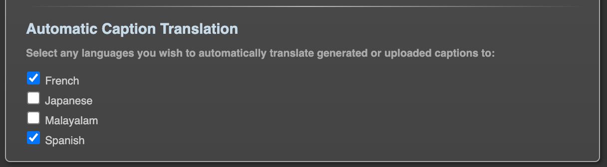 Connect Automatic Caption Translation